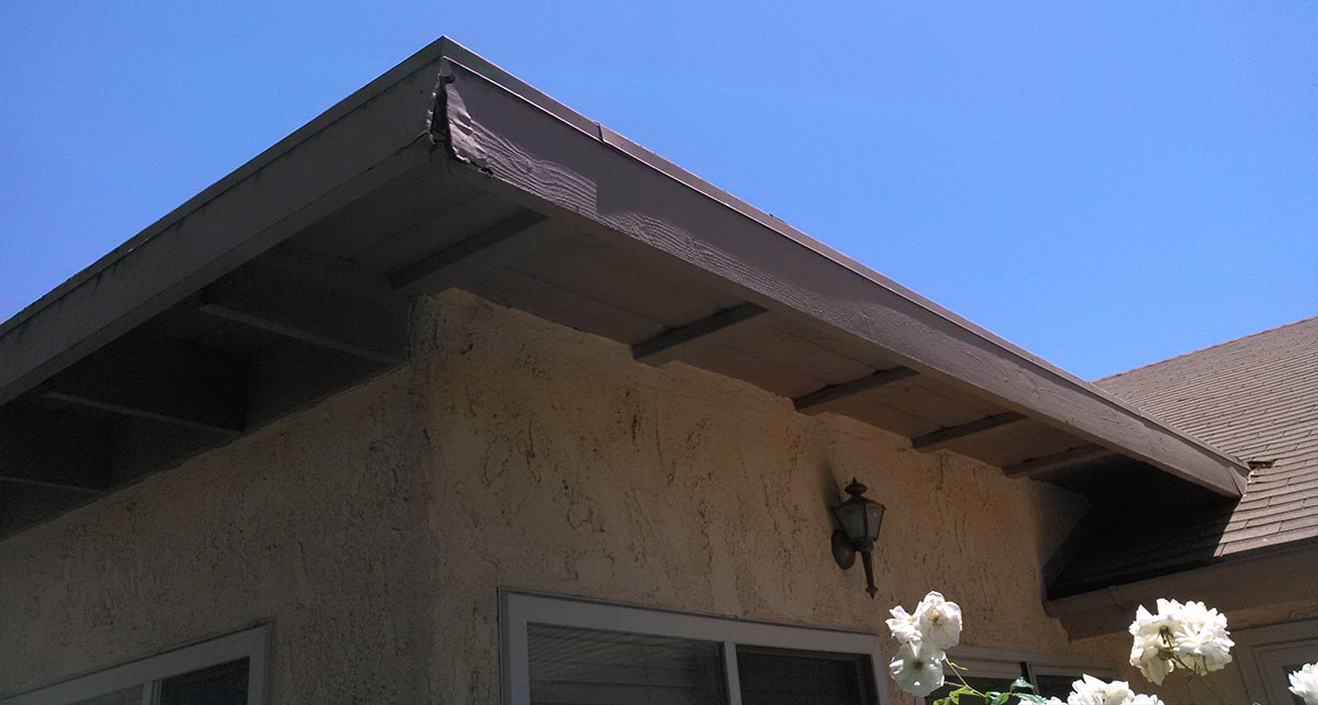 Rotted, termite-infested fascia boards in Ventura County