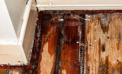 Water damage to flooring in Ventura County home.